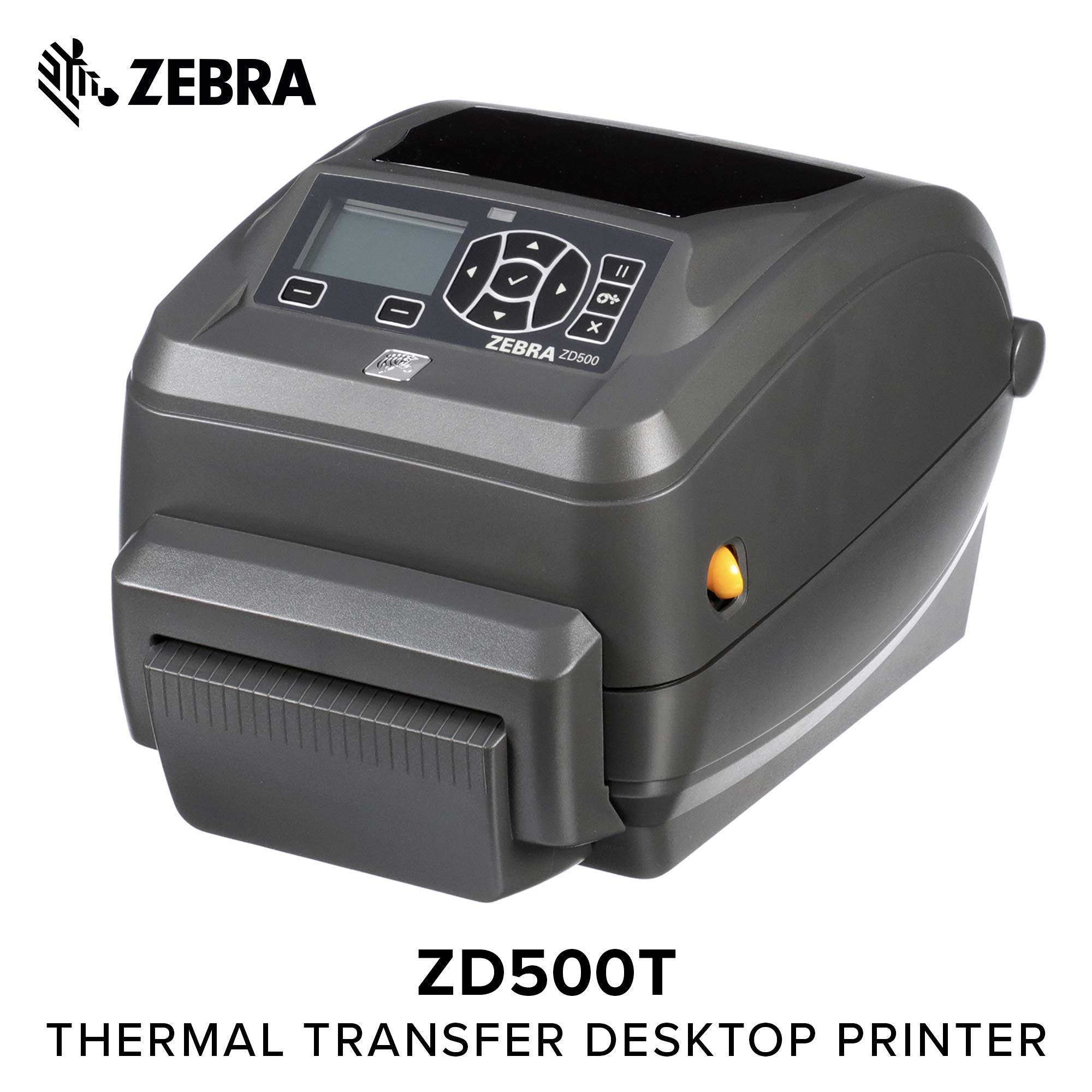 Zebra - ZD500t Thermal Transfer Desktop Printer for Labels and Barcodes - Print Width 4 in - 203 dpi - Interface: Ethernet, Parallel, Serial, USB - Cutter Preinstalled - ZD50042-T21200FZ