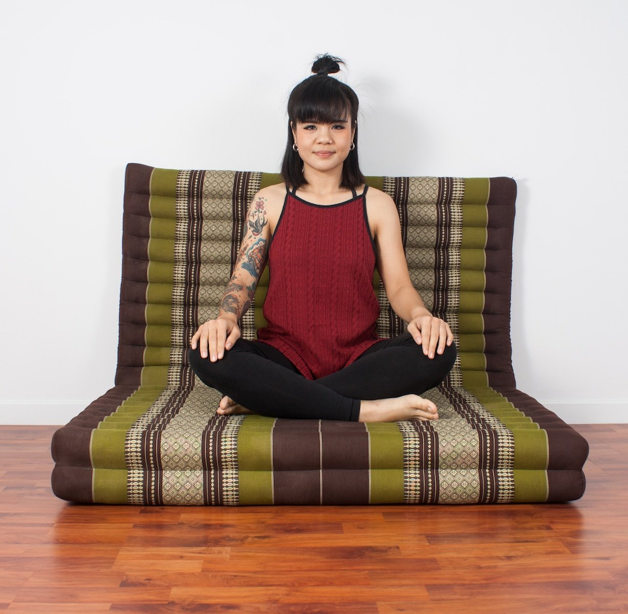Leewadee Thai Massage Mat XL, 82x46x3 inches, Kapok, brown green by Leewadee (Image #5)