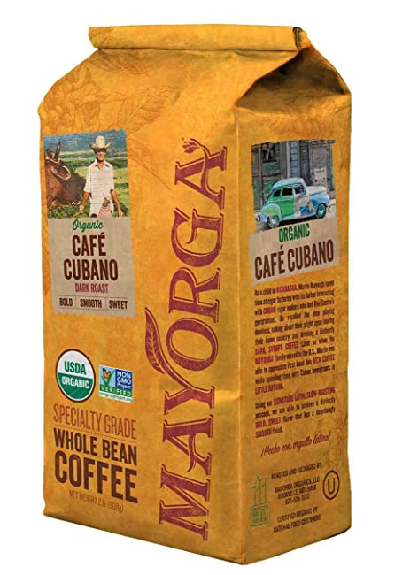 Mayorga Organics Café Cubano, Dark Roast Whole Bean Coffee