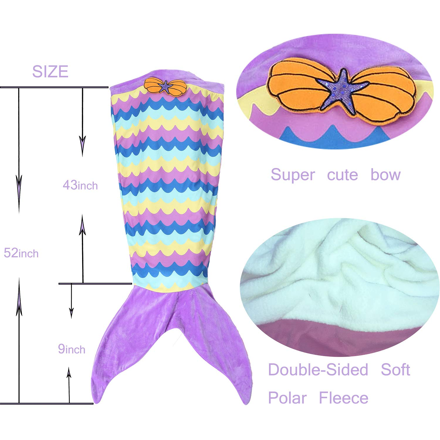 Ereon Mermaid Tail Blanket for Girls Kids Soft Plush Flannel Sleeping Bag to Keep Warm All Seasons Blanket for Girl Christmas Birthday Gift Apply to Bedroom Sofa Beach Outdoor(Purple) by Ereon (Image #8)