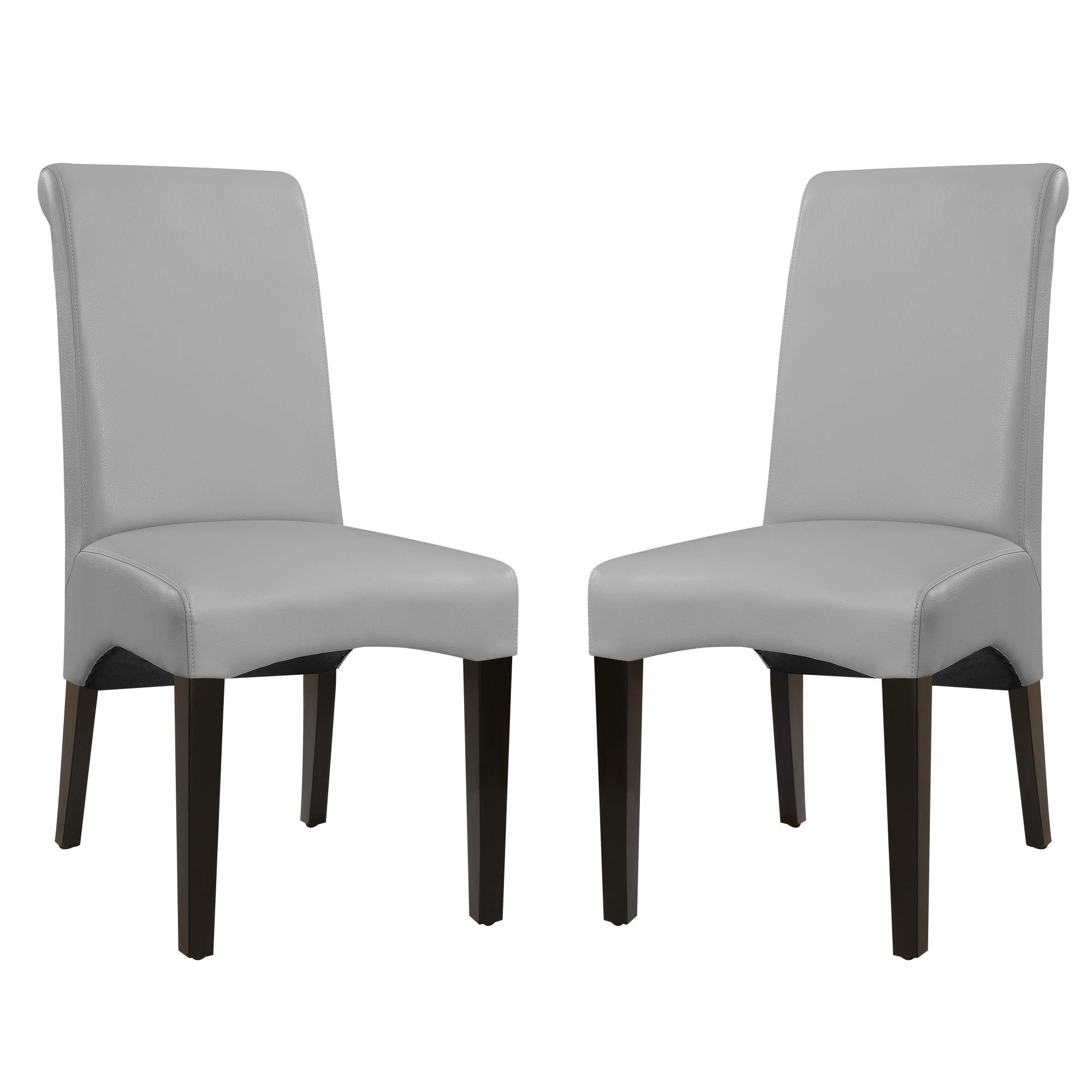 Livingston II Upholstered Dining Chair in Soft Gray with Faux Leather Upholstery And Curved Back, Set of Two, by Artum Hill by Artum Hill (Image #1)