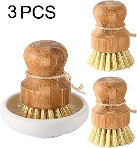 Bamboo Dish Scrub Brushes by Subekyu, Kitchen Wooden Cleaning Scrubbers Set for Washing Cast Iron Pan/Pot, Natural Sisal Bristles, Set of 3