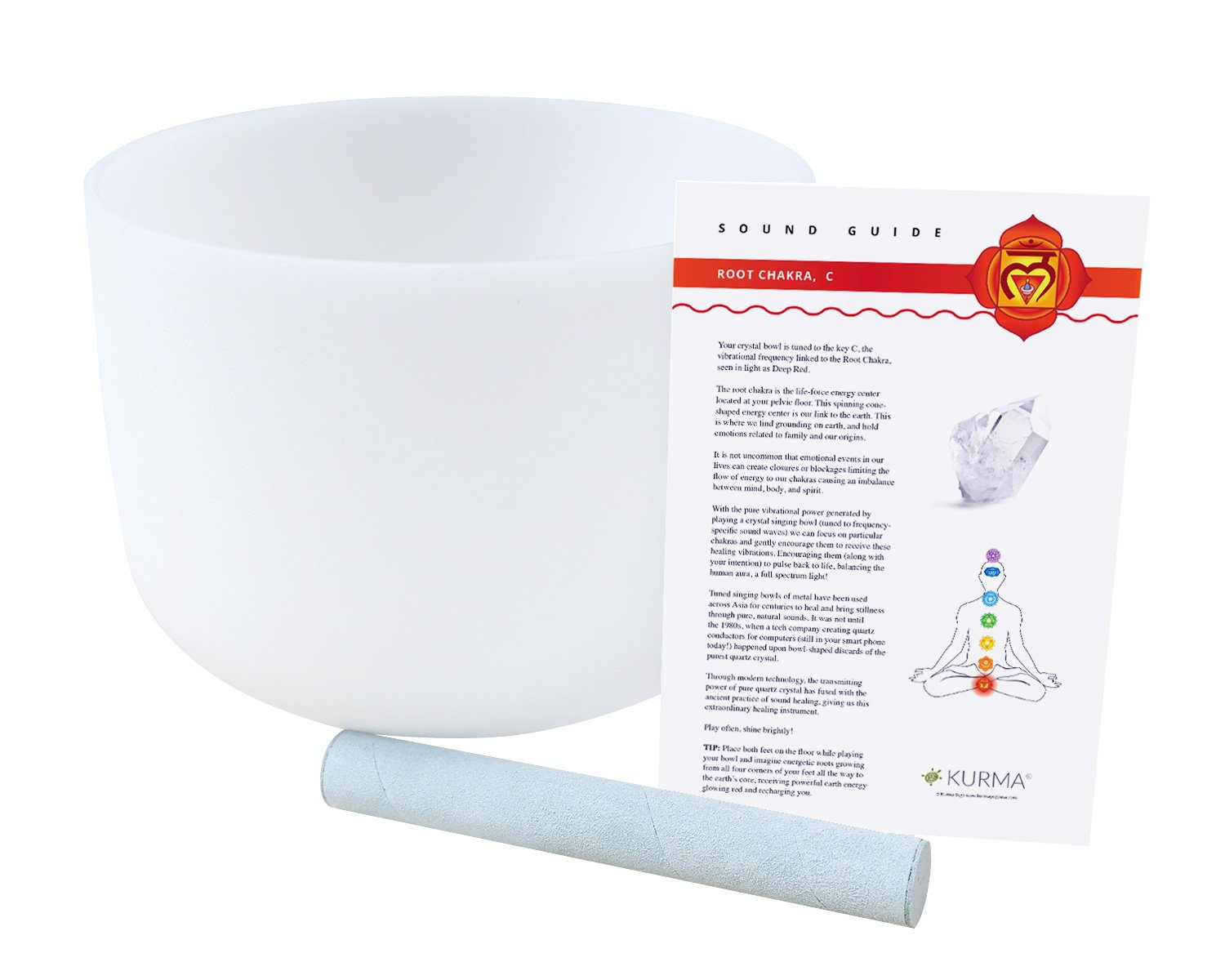 432 hz Root Chakra Crystal Singing Bowl C Note, Suede Mallet Included, Highest Quality Sound and Material (10'')