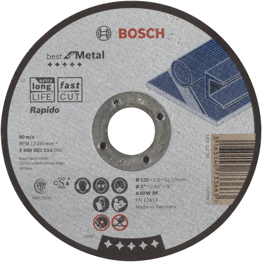 Pack of 1 Fast 1.0 mm A 60 W BF 125 mm Bosch 2 608 603 514 Best for Metal Straight Cutting Disc