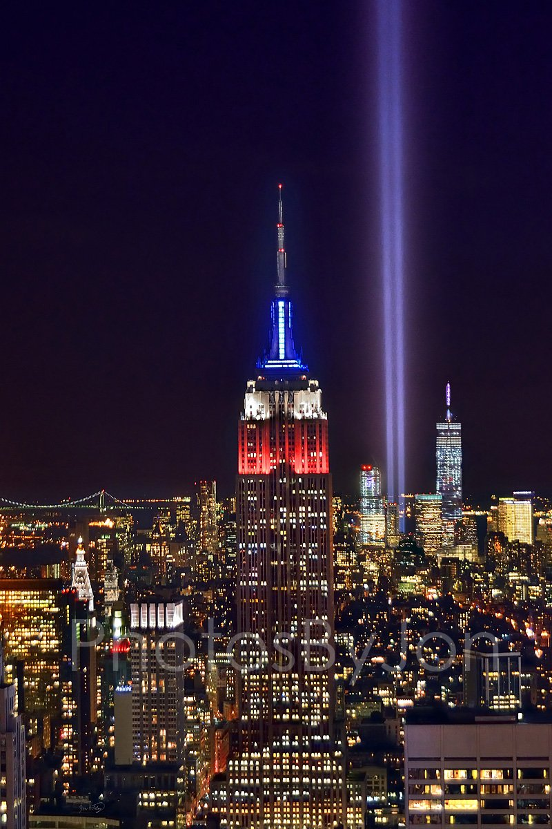 New York City NYC Skyline Tribute in Lights at NIGHT Empire State Building Manhattan COLOR 12 inches x 18 inches Photographic Panorama Poster Print Photo Picture Standard Frame Size by photosbyjon