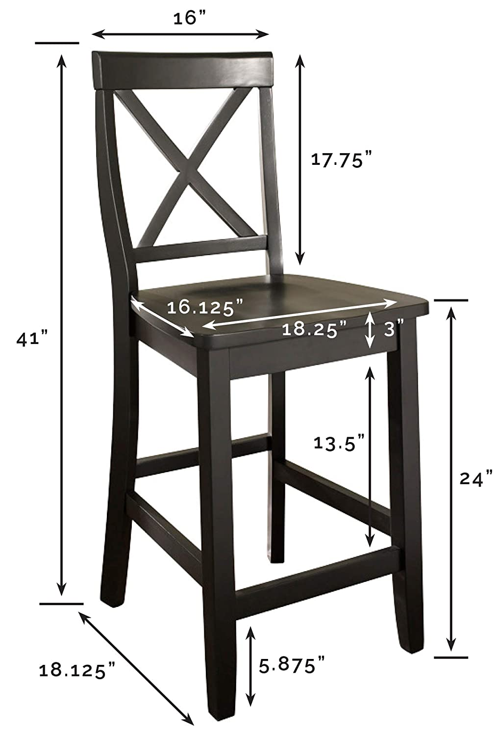 Crosley Furniture Cf500424 Bk X Back Bar Stool Set Of 2 24 Inch Black