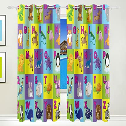 Amazon.com: WOZO Kids Animal Alphabet Window Curtain Panels Drape 84 ...