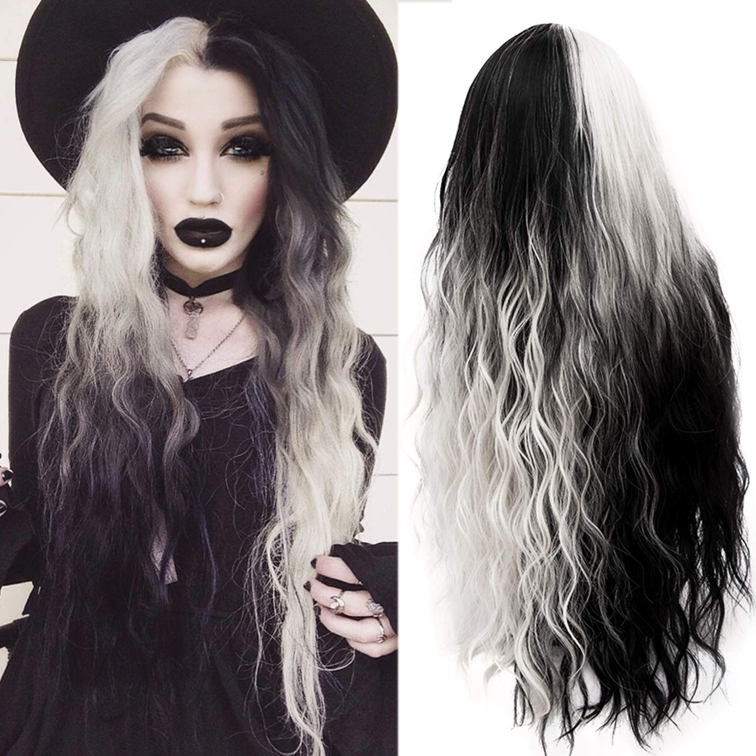Mildiso Ombre Wig Long Curly Wigs for Women Stylish Party Cosplay Wigs Synthetic Heat Resistant 32'' (Black silver grey) 051 by Mildiso