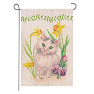 ANOVO Cute Cat Kitten Flowers Garden Flag, Burlap Double Sided Vertical Seasonal Outside Porch Patio Farmhouse Yard Welcome Spring Summer Outdoor Decorative Banners, 12 x 18 Inch