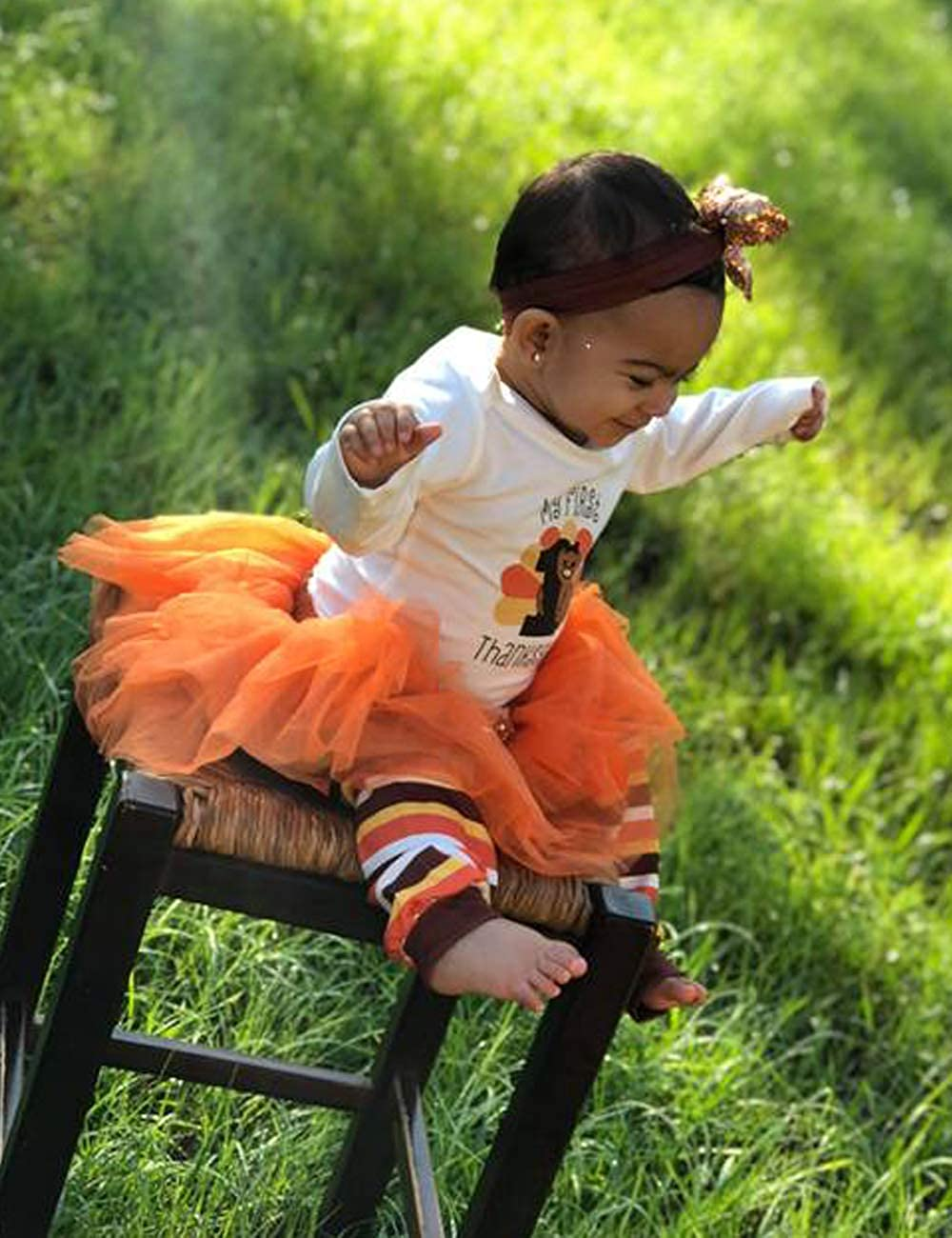 OKGIRL Baby Girl My First Thanksgiving Outfits Sets Letter Romper Orange Short Skirt Bodysuit with Headband Clothes Set