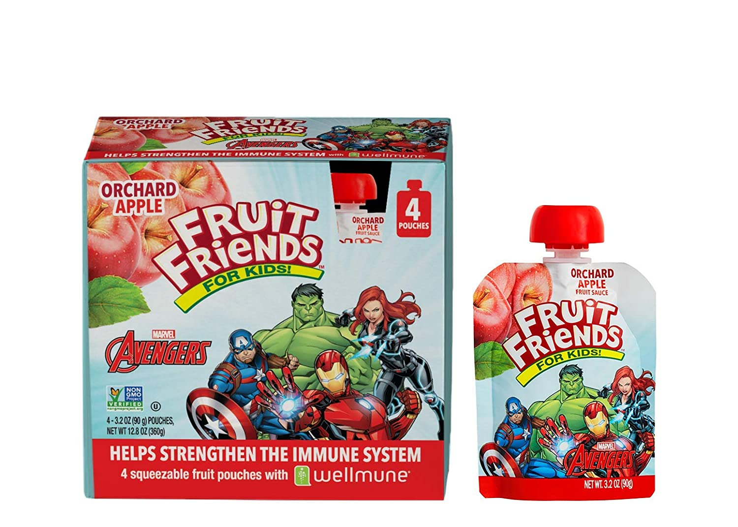 Avengers Fruit Friends Orchard Applesauce With Wellmune - 3.2 Ounce (24 BPA Free Pouches) - Gluten Free - Dairy Free - Allergen Free - No Added Sweeteners