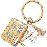 COOLANS Wristlet Bracelet Keychain Pocket Credit Card Holder Purse Tassel Keychain Bangle Key Ring for Women