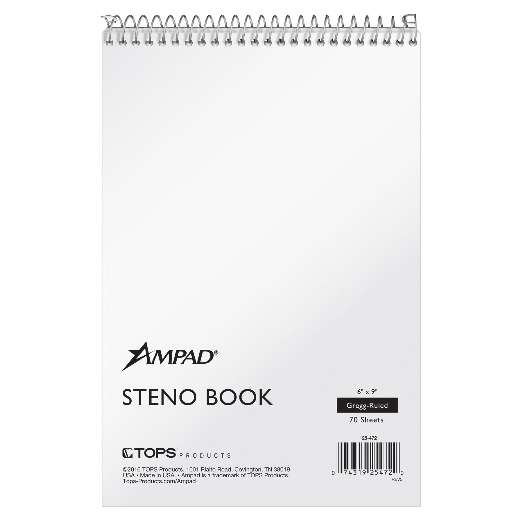 Ampad Steno Notebook, 6 X 9 Inches, White Paper, Gregg Ruled, White Cover, 70 Sheets Per Book, 12-Pack (25-472) by Ampad