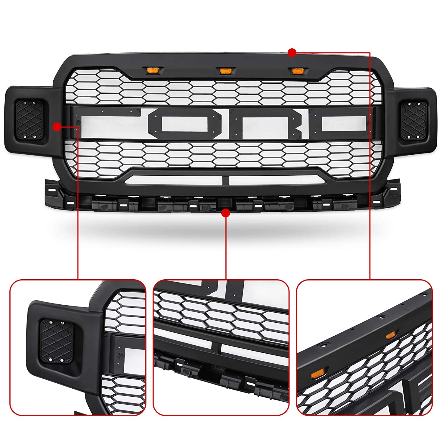 Grilles Modifying Gray Front Grille Fits For 2018 2019 Ford F150 F ...