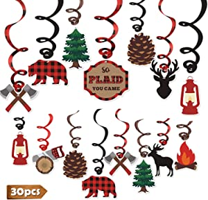 Levfla 30CT Lumberjack Party Hanging Swirls Decoration Buffalo Plaid Kids Birthday Photo Props Camping Ideas Bears Cutouts S'More Fun Door Whirls Signs Baby Shower Favor Supplies