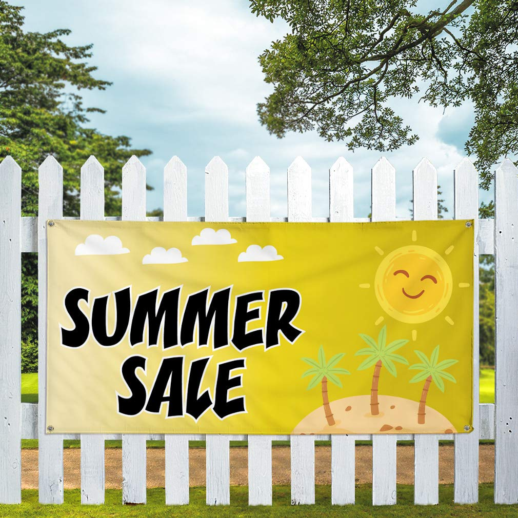 Multiple Sizes Available 32inx80in Set of 2 6 Grommets Vinyl Banner Sign Summer Sale #1 Style C Business Outdoor Marketing Advertising Yellow