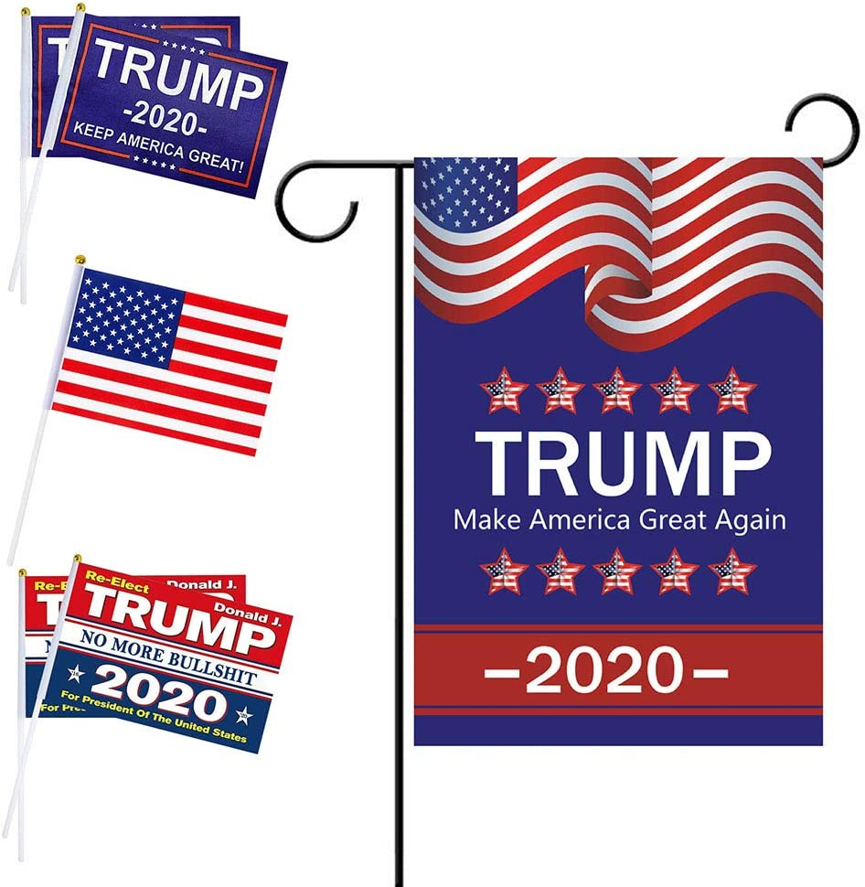 Donald Trump Flag 2020 for President Election - Trump Yard Signs Fans Gift - Hand Held Stick Flags - Small Miniature Democratic Breeze Voting Flags Garden Banner Outdoor Indoor 5+1Pcs