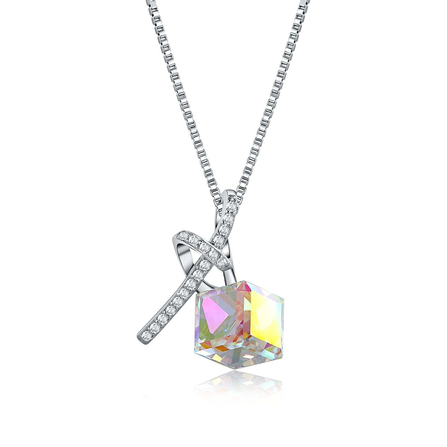 OSIANA Women's Necklace With Swarovski Crystal Color Change Cube Heart Pendant Necklace Fanshion Jewelry