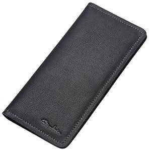 Bison Denim Men's Genuine Leather Long Purse Business Mens Wallet Money Clip