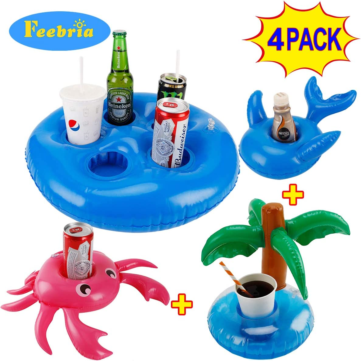 FEEBRIA Inflatable Blue Drink Holders for Pool, Hot Tub, Ocean & River, Cupholder Floaties to Float Your Beverages for Parties & Beach (4 Pack)