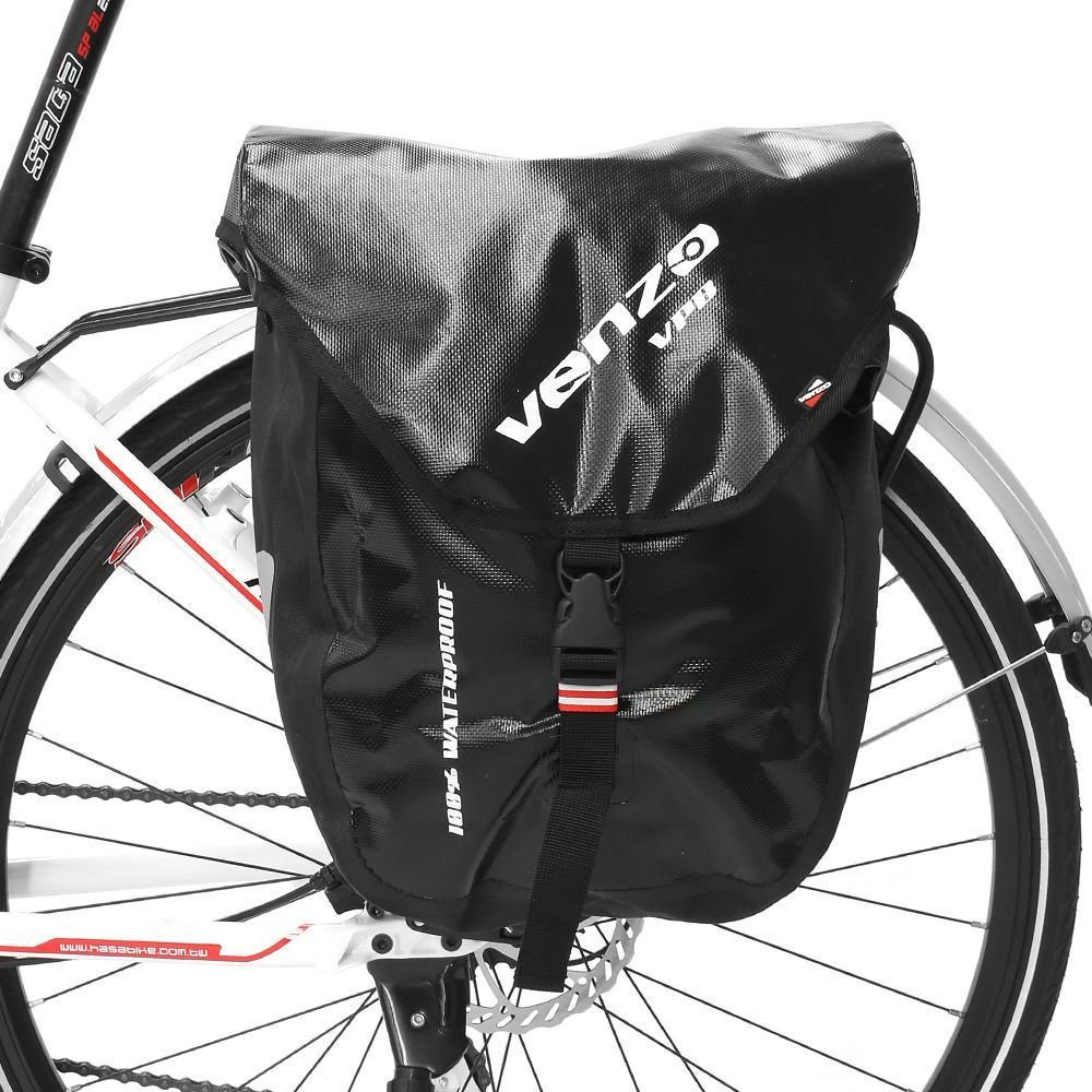 Venzo 600D Polyeste Waterproof Bike Bicycle Rear Pannier Bag