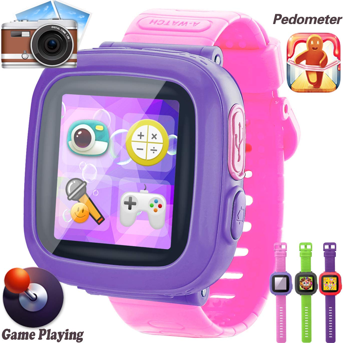 GBD Kids Game Watch, [AR Pro Edition] Boys and Girls Touch Screen Smart Watches with Games Pedometer Camera Alarm Clock Stop Watch Wrist Band Kids Electronic Learning Toys School Birthday Gifts (Pink) by GBD