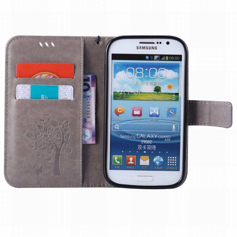 i9060 Ougger Fundas Samsung Galaxy Grand Neo Plus Gris Carcasa Unique Printing Billetera PU Cuero Magn/ética Silicona Flip Piel Protector Tapa Cover con Ranura para Tarjetas