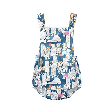 79335c979d3 Fineser Infant Baby Sleeveless Romper Girls Boys Summer Animal Cartoon  Jumpsuit Backless Vest Bodysuit Outfits Clothes