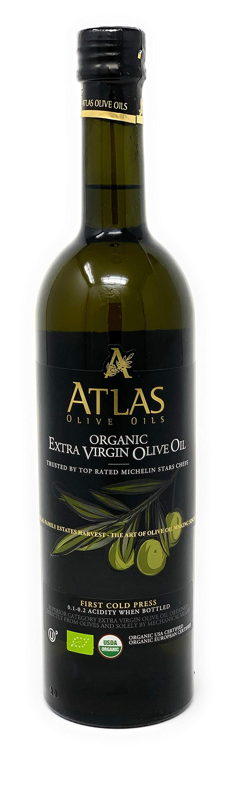 Organic Extra Virgin Olive Oil: First Cold Pressed EVOO Trusted by Top Rated Michelin Stars Chefs for cooking, Organic USA Certified, Organic European Certified, 0.1-.2 Acidity from olives in Morocco