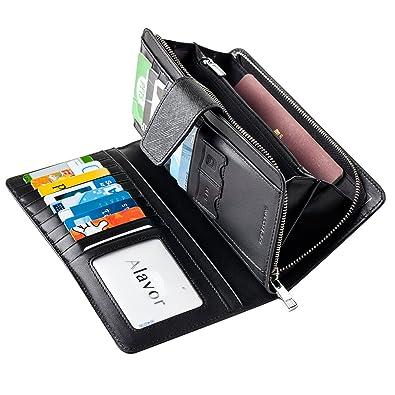 Alavor Women's RFID Blocking Genuine Leather Clutch Wallet Card Holder Purse