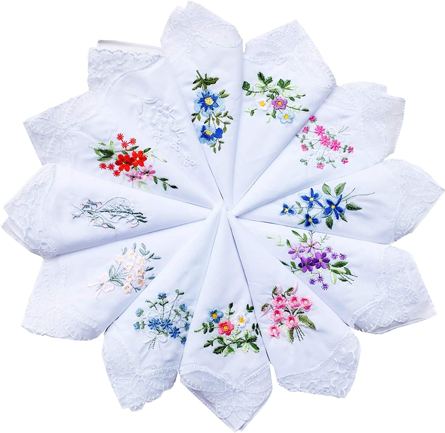 One Size Pack Of 3 Lavender//White Womens//Ladies Cotton Handkerchiefs With Embroidered Flowers