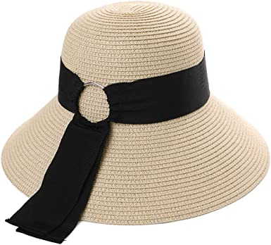 Comhats UPF 50 Wide Brim Floppy Sun Hats for Women Ladies Summer Straw Sunhat Packable Holiday Beach Accessories