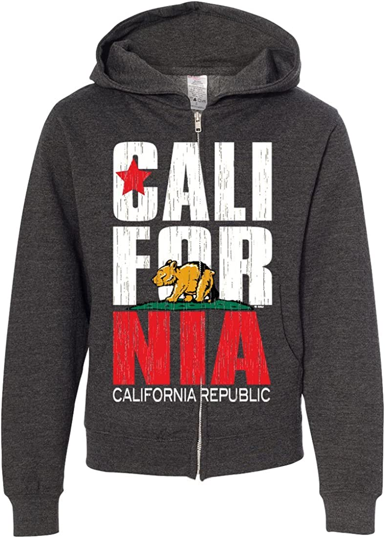California Republic Vintage Retro Baby Bear Youth Zip-Up Hoodie