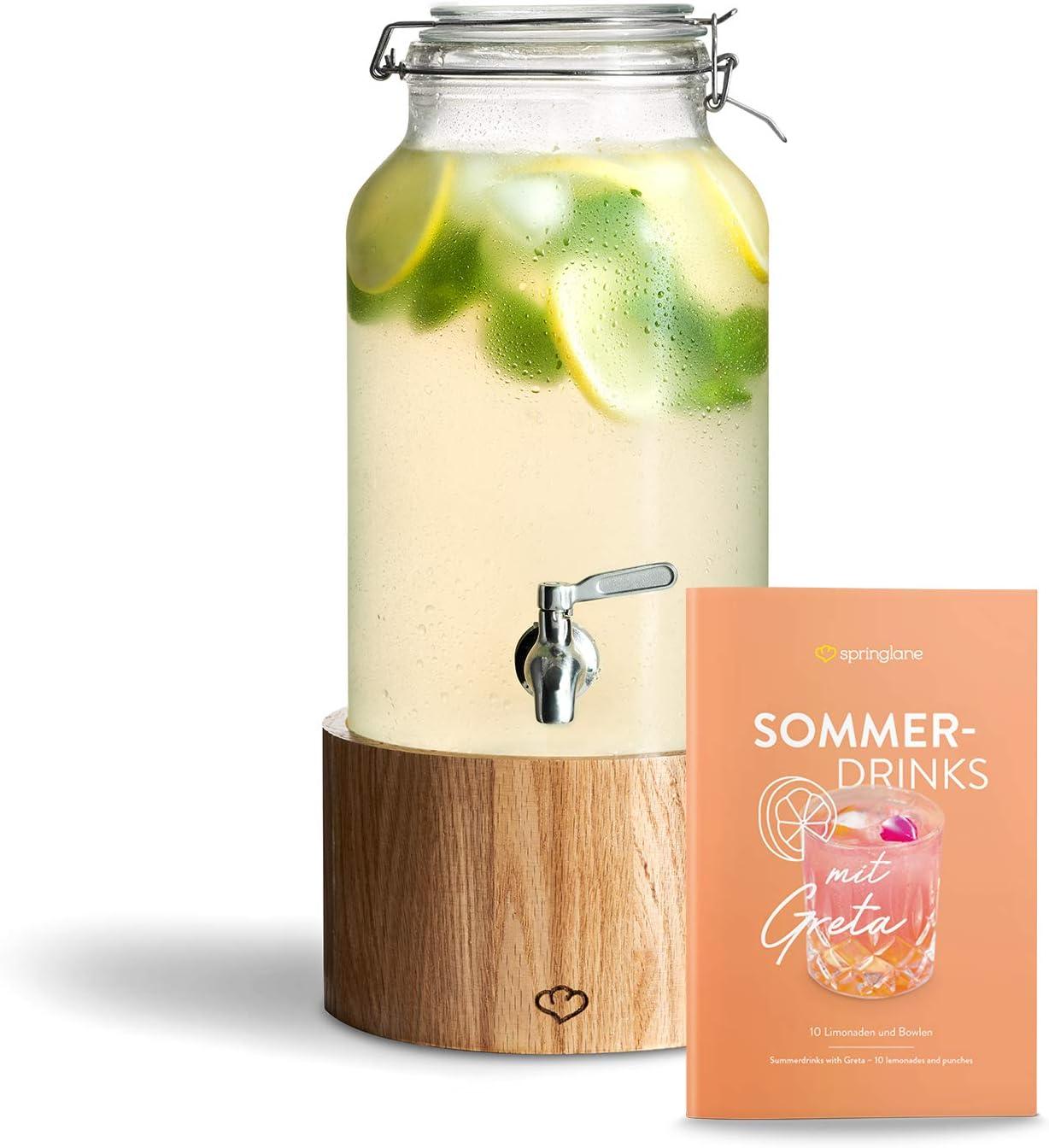 Dispensador de Bebidas 5.0 L con Grifo de Acero Inoxidable GRETA, Dispensador Bebidas Botella vidrio con soporte de Madera Mason Jar Vintage Design