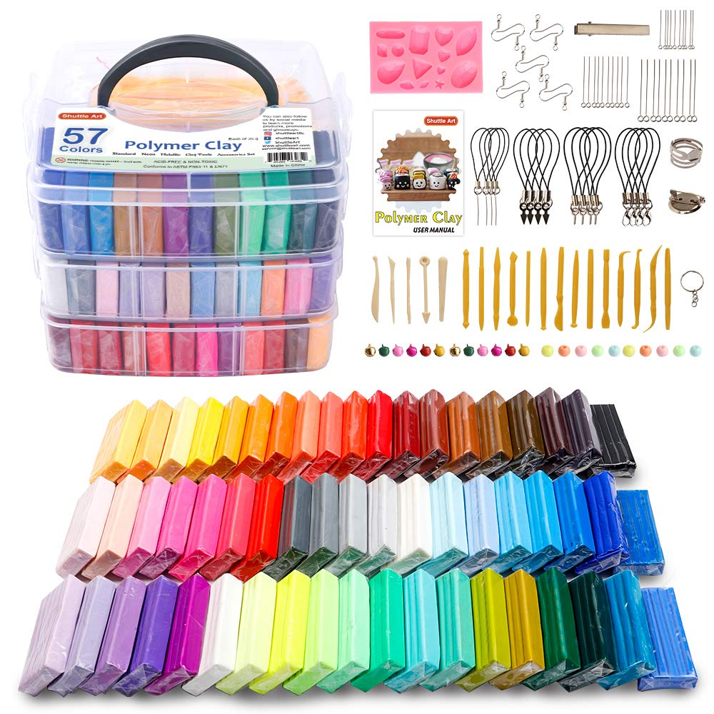 100 packs Modeling Clay with Sculpting Tools,Roller,Jewelry Making Accessories,Ideal DIY Crafts Kit 1.4oz each color Vankerter Polymer Clay 50 Colors Oven Bake Clay
