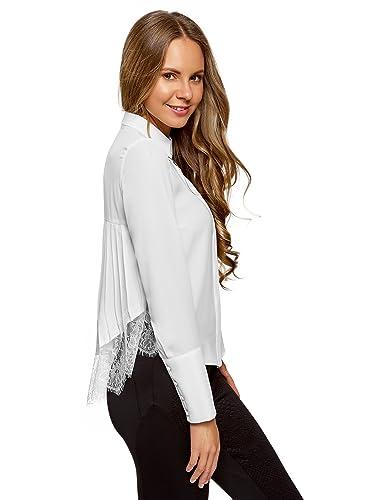 oodji Collection Mujer Blusa con Encajes y Espalda Plisada