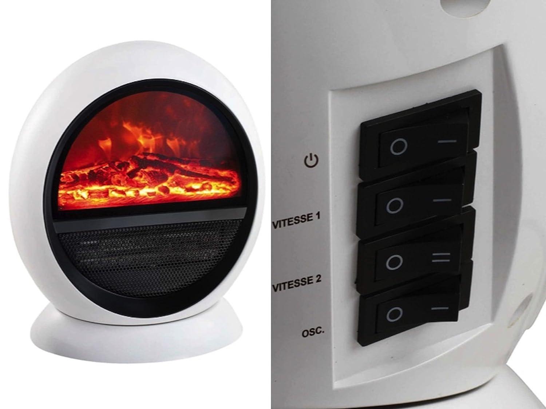 1500 Watt, Oszillierend, Tragegriff, Sicherer Stand, Wei/ß Keramik Heizstrahler Heizer Kamin Effekt Ofen Heizung Schwingfunktion /Überhitzungsschutz