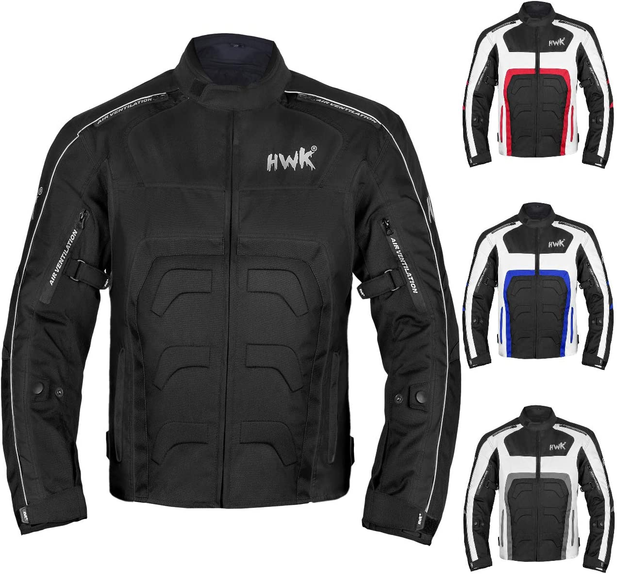 Textile Motorcycle Jacket For Men Dualsport Enduro Motorbike Biker Riding Jacket Breathable CE ARMORED WATERPROOF (Black, S)