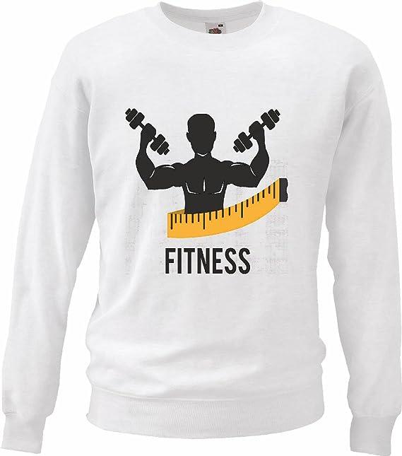 Sudaderas Suéter Culturista Fitness musculación Gym Peso DE FORMACIÓN Gym Muskelaufbau Suplementos DE Pesas en Blanco: Amazon.es: Ropa y accesorios