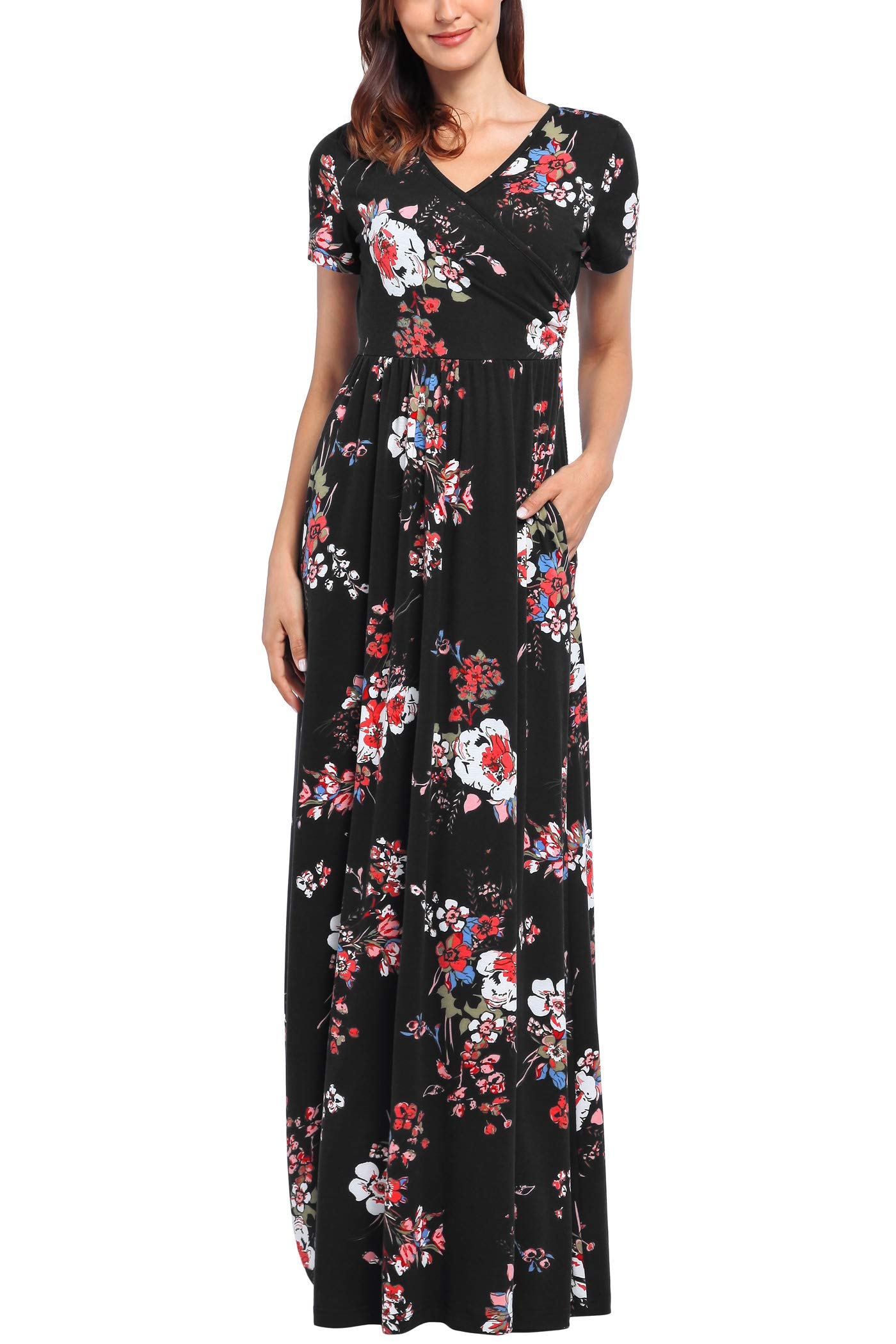 Comila Short Sleeve Maxi Dresses for Women, Summer V Neck Dress Pockets Vintage Floral Maxi Casual Dress with Pockets Elegant Work Office Long Dress Black S (US 4-6) by Comila (Image #2)
