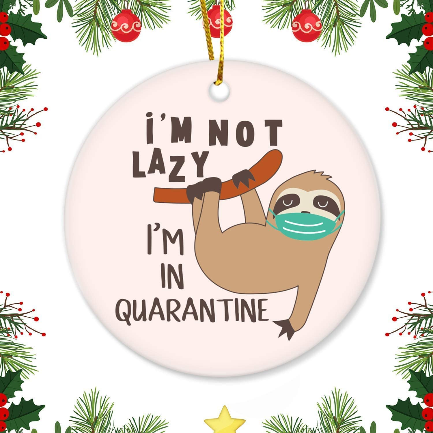 erolrail I'm not Lazy, I'm in Quarantine Sloth Merry Christmas Funny Round Christmas Ornament Double Sided Xmas Decor Christmas Tree Ornaments with Box Ornaments for Christmas 2020