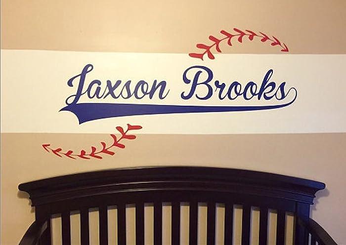 Amazoncom Custom Name Added To Baseball Vinyl Wall Decal - Custom vinyl wall decals removable