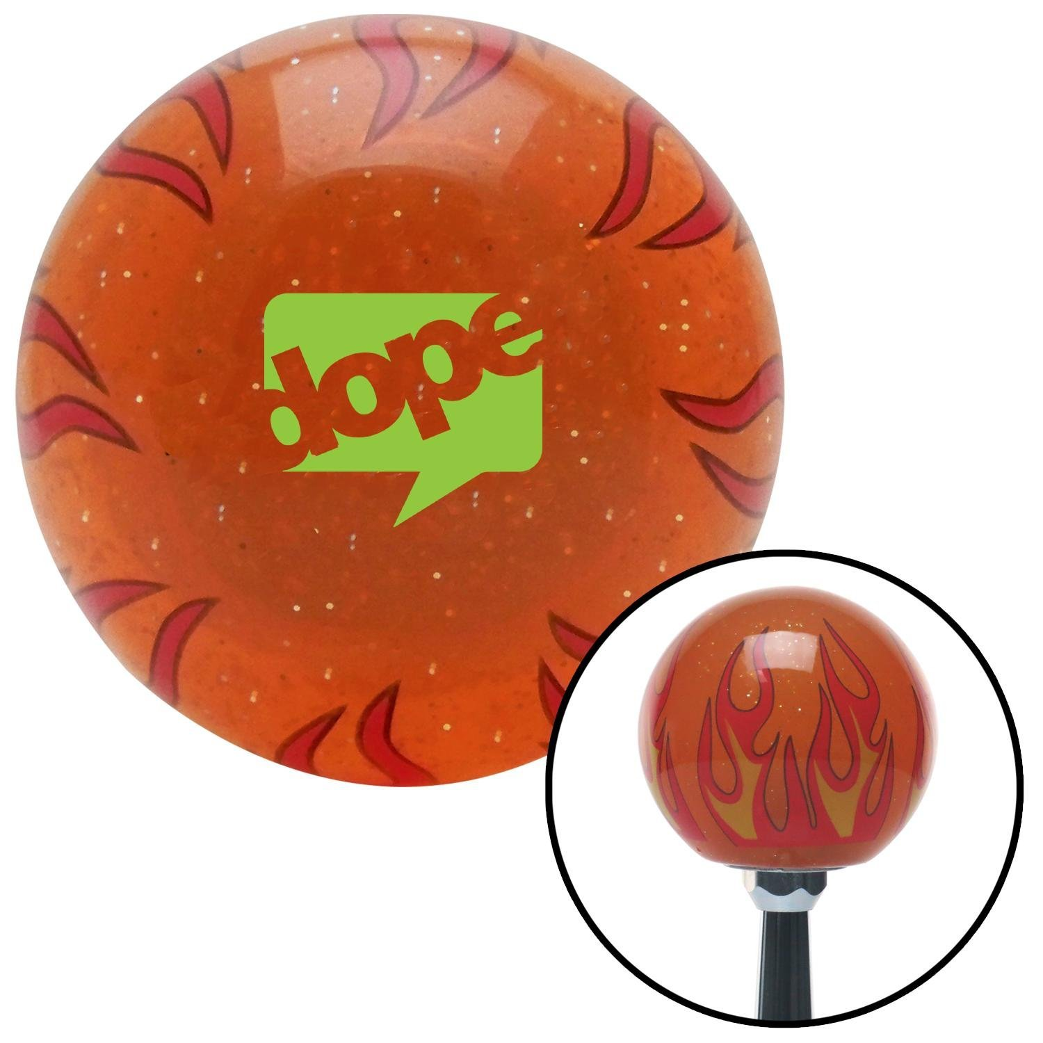 Green Dope Bubble Orange Flame Metal Flake with M16 x 1.5 Insert American Shifter 299632 Shift Knob
