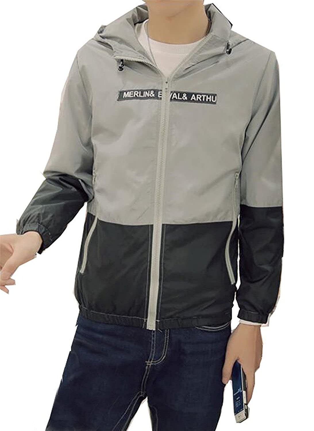 KDHJJOLY New Mens Leisure Sports Outdoor Running Windbreaker Jacket