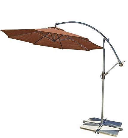 Coolaroo Round Cantilever Umbrella, Terracotta, 10 Foot