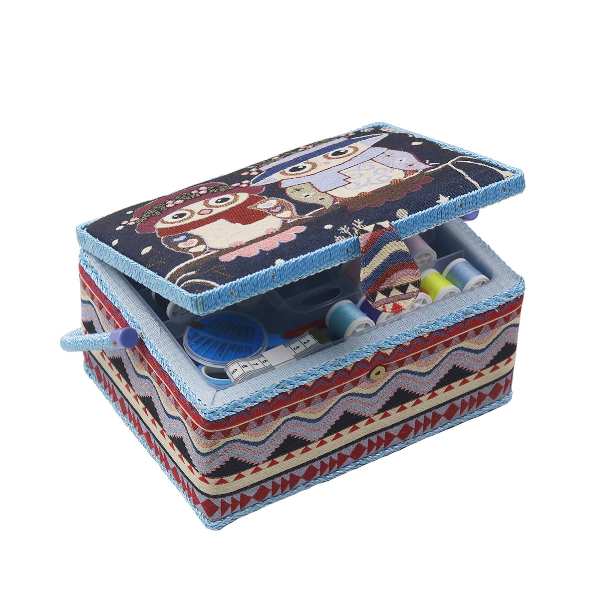 Large Sewing Basket Sewing Box Organizer with Sewing Kit Accessories - Blue - by D&D Design