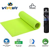 VI FiTKiT Yoga Mat with Free Yoga mat Bag Anti Skid Yoga mat for Gym Workout and Flooring Exercise Long Size Yoga Mat for Men Women