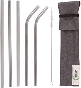 Healthy Human Set of 5 BPA Free Reusable Metal Drinking Stainless Steel Straws with Portable Travel Case -Ideal for 20oz Tumblers - 3 Straight - 2 Bent & Straw Cleaner