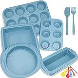 Silicone Nonstick Baking Pans Mold Tray Supplies Tools Bakeware Set, BPA Free Food Grade for Muffin Pizza Tiramisu Loaf Bread