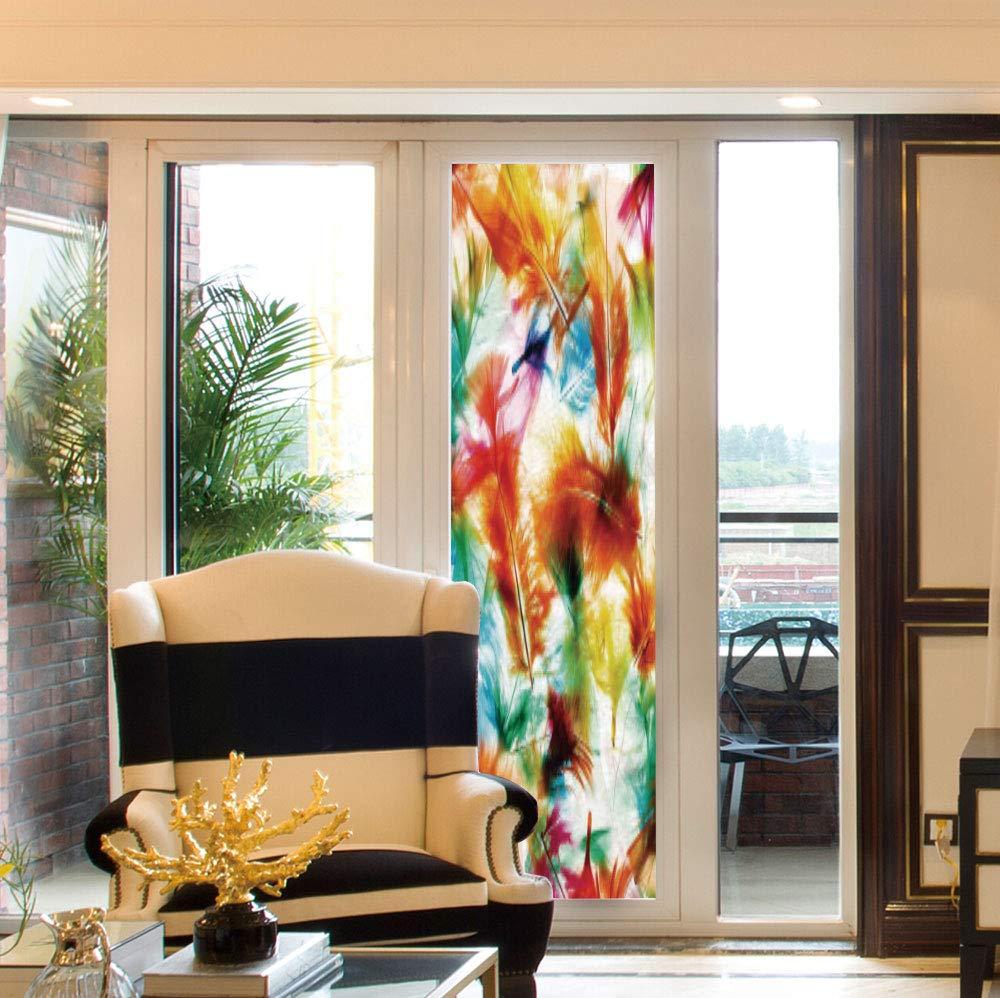 YOLIYANA カラフルなウィンドウフィルム 羽根の家の装飾 トイレ バルコニー オリエンタル アジア トライバル 羽 セット マジック 24''x78'' FS_02_Q408_027370 B07QS1M8B9 Multi 02 24''x78''
